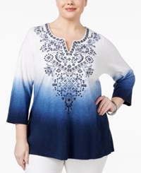 Jm Collection Plus Size Cotton Embroidered Tunic Only At Macy's Blue Dip Dye