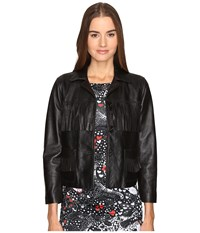 Just Cavalli Fringe Leather Button Up Jacket Black