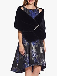 Adrianna Papell Faux Fur Crystal Wrap Black