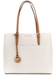 Michael Michael Kors Monogram Shopper Tote Women Calf Leather One Size Nude Neutrals