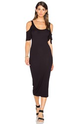 Enza Costa Stretch Silk Rib Flutter Sleeve Dress Black