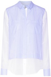 Vince Layered Cotton Poplin And Washed Silk Shirt Blue