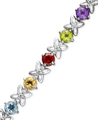 Macy's Sterling Silver Multi Stone 9 Ct. T.W. And Diamond Accent Flower Bracelet