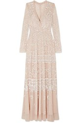 Needle And Thread Aurora Sequined Tulle Gown Blush