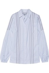 Gabriela Hearst Wight Embroidered Pinstriped Cotton Shirt Blue