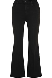 J Brand Carolina Cropped High Rise Flared Jeans Black