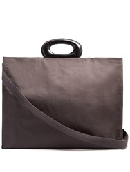 Christophe Lemaire Contrast Handle Canvas Tote Dark Grey