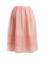 Jupe By Jackie Griggs Embroidered Silk Organza Midi Skirt Light Pink