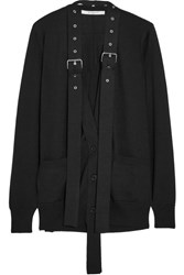 Givenchy Buckle Embellished Wool And Silk Blend Cardigan Black