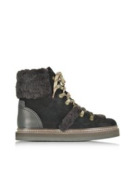 See By Chloe Dark Brown And Black Suede Boot W Shearling Detail