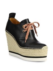 See By Chloe Glyn Leather Lace Up Espadrille Wedge Booties Black