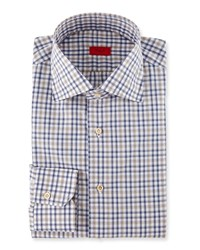 Isaia Check Dress Shirt Navy Camel Gray Red
