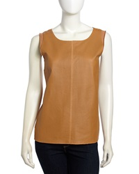 Neiman Marcus Leather Front Sleeveless Top Ginger