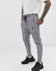 Sik Silk Siksilk Slim Cropped Trousers In Grey Prince Of Wales Check