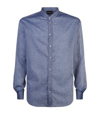 Armani Cotton And Linen Striped Shirt Navy