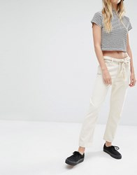 Weekday Ami Mid Waist Crop Jeans Left Over Ecru Cream