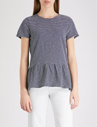 The White Company Striped Peplum Hem Cotton Jersey Top Navy White