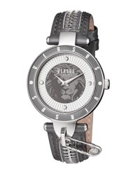 Versus By Versace 37Mm Key Biscayne Ii Watch W Leather Zipper Strap Gray