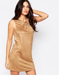 Influence Lace Up Front Suede Shift Dress Camel
