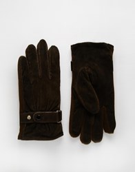 Peter Werth Suede Gloves Brown
