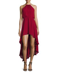 Haute Hippie Silk Asymmetric High Low Dress Crimson