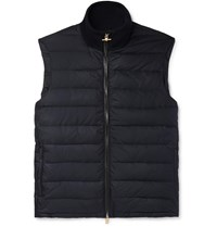 Dunhill Leather Trimmed Quilted Shell Down Gilet Blue