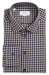 Eton Men's Big And Tall Contemporary Fit Check Dress Shirt Blue