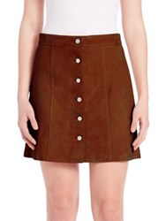 Theory Sinall Perfect Suede Mini Skirt Dark Honey