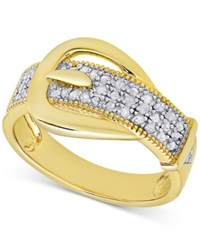 Macy's Diamond Buckle Ring 1 4 Ct. T.W. Yellow Gold