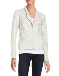 Sam Edelman Organic Seam Faux Leather Jacket Frosted Cream