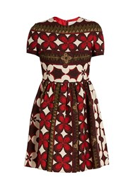 Valentino Floral Print Wool And Silk Blend Dress Red Multi
