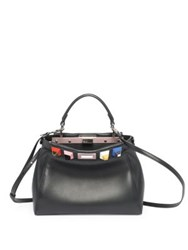 Fendi Mini Peekaboo Rainbow Studded Leather Satchel Black