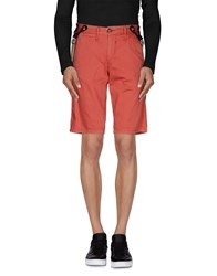 Solid Trousers Bermuda Shorts Men Red
