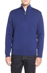 Men's Bobby Jones Windproof Merino Wool Quarter Zip Sweater Summer Navy