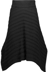Isabel Marant Galeo Asymmetric Cotton Matelasse Midi Skirt Black