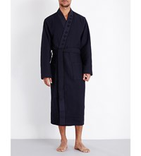 Hugo Boss Waffle Textured Cotton Blend Robe Navy