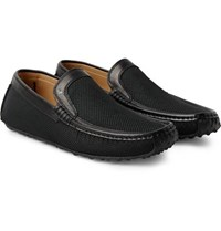 Harry's Of London Harrys Jet Moc 5 Leather Trimmed Woven Silk Loafers Black