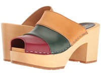 Swedish Hasbeens Hippie Slip In Hippie Color Combo Women's Clog Mule Shoes Multi