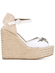 Le Silla Embellished Braided Wedges Women Raffia Leather Rubber 36 White
