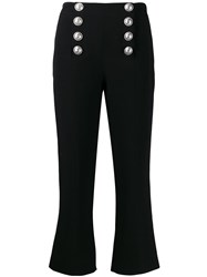 Balmain Button Embellished Cropped Trousers Black