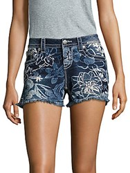 Miss Me Hawaiian Dream Floral Textured Denim Shorts Medium Blue