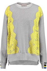 Preen By Thornton Bregazzi Gresham Lace Trimmed Cotton Jersey Sweatshirt Gray