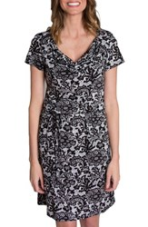 Udderly Hot Mama Women's 'Chic' Cowl Neck Nursing Dress Black White Lace