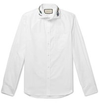 Gucci White Slim Fit Cutaway Collar Embroidered Cotton Poplin Shirt White