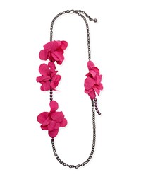 Lanvin Long Crystal Chain Flower Necklace Fuchsia 42.5