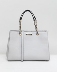 Carvela Benny Chain Weave Structured Tote Bag Grey