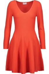 Milly Flared Ribbed Knit Mini Dress Bright Orange