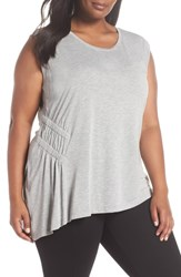 Sejour Plus Size Sleeveless Ruched Asymmetrical Top Grey Heather