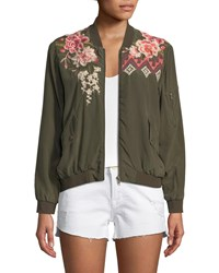 Johnny Was Parnaz Embroidered Silk Crepe De Chine Bomber Jacket Army