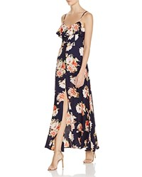 Band Of Gypsies Floral Flounce Maxi Dress Navy Coral